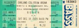 Ticket stub - Queen live at the Oakland Coliseum Arena, Oakland, CA, USA [16.12.1978]