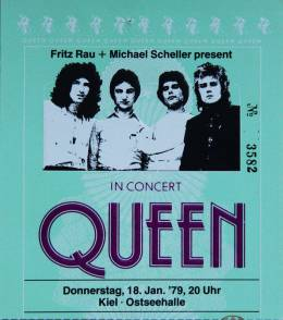 Ticket stub - Queen live at the Ostseehalle, Kiel, Germany [18.01.1979]