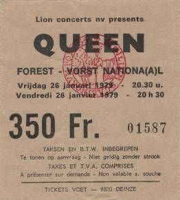 Ticket stub - Queen live at the Forest National, Brussels, Belgium [26.01.1979]