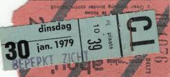 Ticket stub - Queen live at the Ahoy Hall, Rotterdam, The Netherlands [30.01.1979]