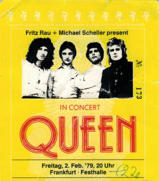 Ticket stub - Queen live at the Festhalle, Frankfurt, Germany [02.02.1979]