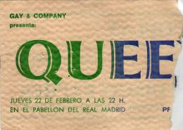 Ticket stub - Queen live at the Pabellon De Real Madrid, Madrid, Spain [22.02.1979]