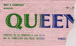 Ticket stub - Queen live at the Pabellon De Real Madrid, Madrid, Spain [23.02.1979]