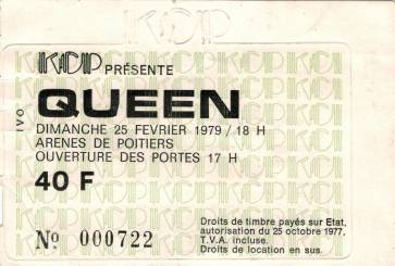 Ticket stub - Queen live at the Les Arenes, Poitiers, France [25.02.1979]