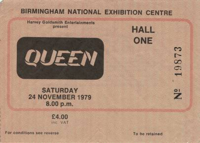 Ticket stub - Queen live at the National Exhibition Centre, Birmingham, UK [24.11.1979]