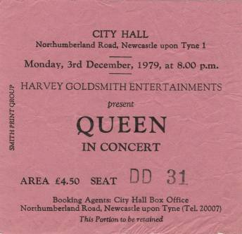 Ticket stub - Queen live at the City Hall, Newcastle, UK [03.12.1979]