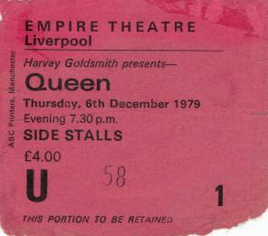 Ticket stub - Queen live at the Empire Theatre, Liverpool, UK [06.12.1979]