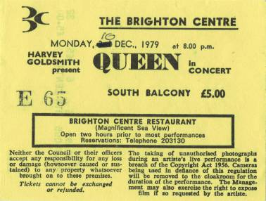 Ticket stub - Queen live at the Centre, Brighton, UK [10.12.1979]