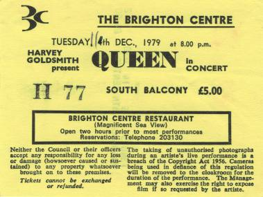 Ticket stub - Queen live at the Centre, Brighton, UK [11.12.1979]