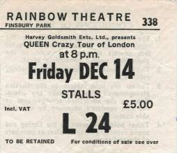 Ticket stub - Queen live at the Rainbow Theatre, London, UK [14.12.1979]