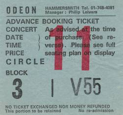 Ticket stub - Queen live at the Hammersmith Odeon, London, UK [26.12.1979]