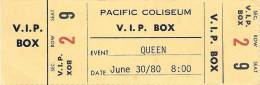 Ticket stub - Queen live at the PNE Coliseum, Vancouver, Canada [30.06.1980]