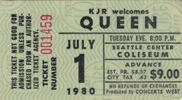 Ticket stub - Queen live at the Coliseum, Seattle, WA, USA [01.07.1980]