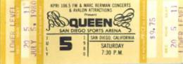 Ticket stub - Queen live at the Sports Arena, San Diego, CA, USA [05.07.1980]