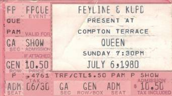 Ticket stub - Queen live at the Compton Terrace, Phoenix, AZ, USA [06.07.1980]