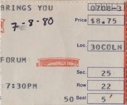 Ticket stub - Queen live at the Forum, Inglewood, CA, USA [08.07.1980]