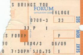 Ticket stub - Queen live at the Forum, Inglewood, CA, USA [09.07.1980]