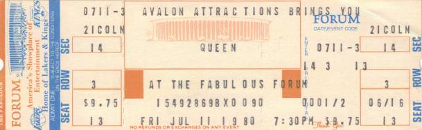 Ticket stub - Queen live at the Forum, Inglewood, CA, USA [11.07.1980]