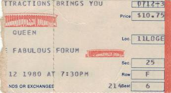 Ticket stub - Queen live at the Forum, Inglewood, CA, USA [12.07.1980]