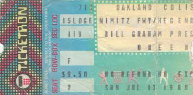 Ticket stub - Queen live at the Oakland Coliseum Arena, Oakland, CA, USA [13.07.1980]