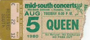 Ticket stub - Queen live at the Mid South Coliseum, Memphis, TN, USA [05.08.1980]