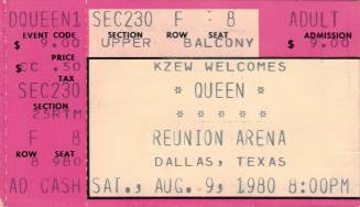 Ticket stub - Queen live at the Reunion, Dallas, TX, USA [09.08.1980]