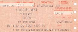 Ticket stub - Queen live at the Omni, Atlanta, GA, USA [12.08.1980]