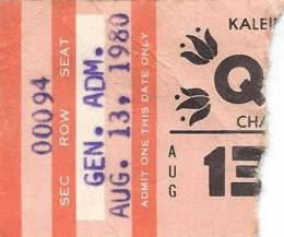 Ticket stub - Queen live at the Coliseum, Charlotte, NC, USA [13.08.1980]