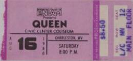 Ticket stub - Queen live at the Civic Centre, Charleston, WV, USA [16.08.1980]