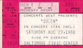 Ticket stub - Queen live at the Civic Centre, Baltimore, MD, USA [23.08.1980]
