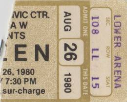 Ticket stub - Queen live at the Civic Centre, Providence, RI, USA [26.08.1980]