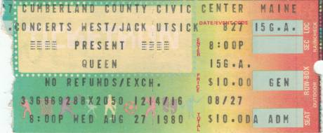 Ticket stub - Queen live at the Cumberland County Civic Center, Portland, ME, USA [27.08.1980]