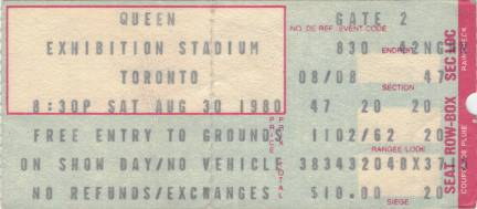 Ticket stub - Queen live at the CNE, Toronto, Canada [30.08.1980]
