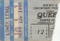 Ticket stub - Queen live at the Kemper Arena, Kansas City, MO, USA [12.09.1980]