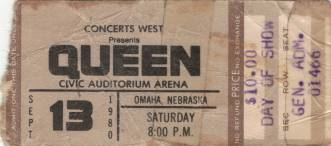Ticket stub - Queen live at the Civic, Omaha, NE, USA [13.09.1980]