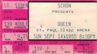 Ticket stub - Queen live at the Civic Centre, St. Paul, MN, USA [14.09.1980]