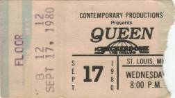 Ticket stub - Queen live at the Checkerdome, St. Louis, MO, USA [17.09.1980]