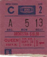 Ticket stub - Queen live at the Madison Square Garden, New York, NY, USA [28.09.1980]
