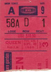 Ticket stub - Queen live at the Madison Square Garden, New York, NY, USA [30.09.1980]