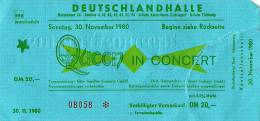 Ticket stub - Queen live at the Deutschlandhalle, Berlin, Germany [30.11.1980]