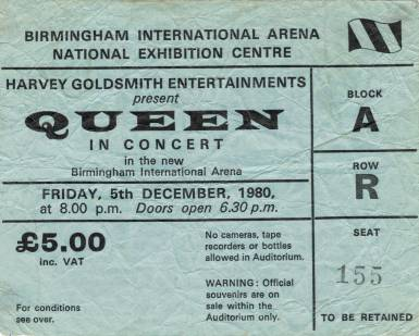 Ticket stub - Queen live at the National Exhibition Centre, Birmingham, UK [05.12.1980]