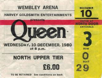 Ticket stub - Queen live at the Wembley Arena, London, UK [10.12.1980]