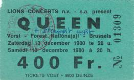 Ticket stub - Queen live at the Forest National, Brussels, Belgium [13.12.1980]