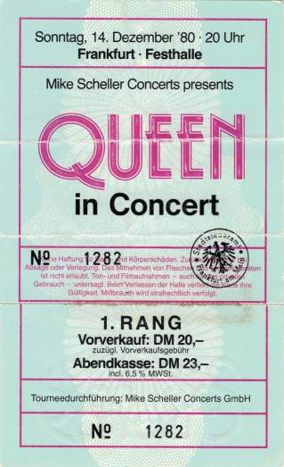 Ticket stub - Queen live at the Festhalle, Frankfurt, Germany [14.12.1980]