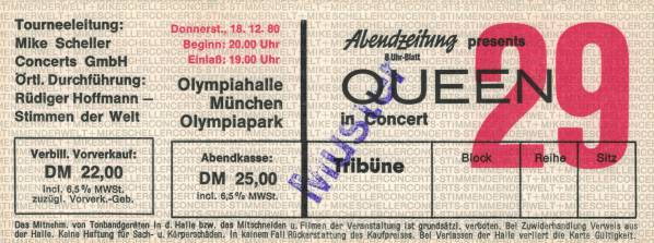 Ticket stub - Queen live at the Olympiahalle, Munich, Germany [18.12.1980]