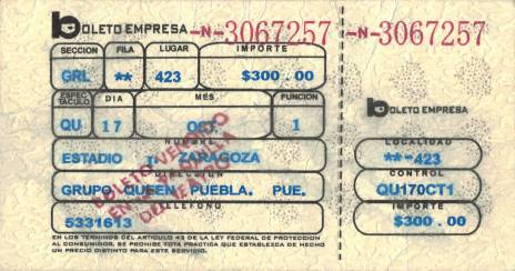 Ticket stub - Queen live at the Estadio de Beisbol Ignacio Zaragoza, Puebla, Mexico [17.10.1981]