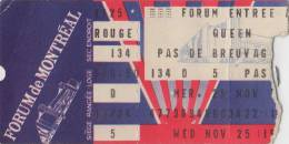Ticket stub - Queen live at the Forum, Montreal, Canada [25.11.1981]