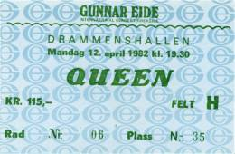 Ticket stub - Queen live at the Drammenshallen, Drammen, Norway [12.04.1982]