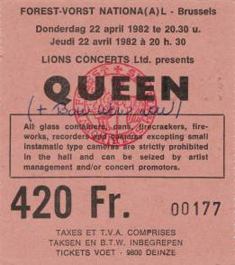 Ticket stub - Queen live at the Forest National, Brussels, Belgium [22.04.1982]