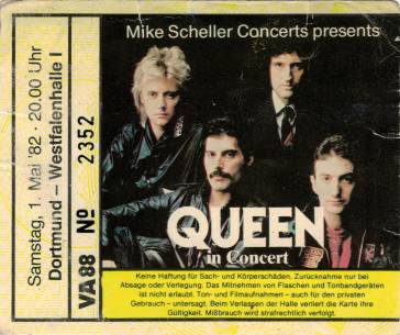 Ticket stub - Queen live at the Westfallenhalle, Dortmund, Germany [01.05.1982]